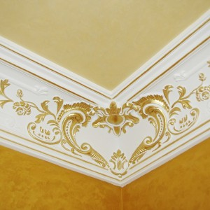 Декорирование лепных элементов интерьера роспись и патинирование багетов и розеток