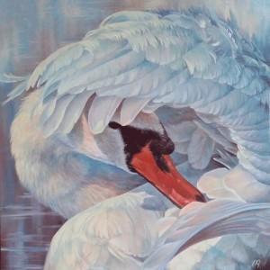 Картина холст масло ЛЕБЕДЬ 60х60 живопись анималистика фауна птицы