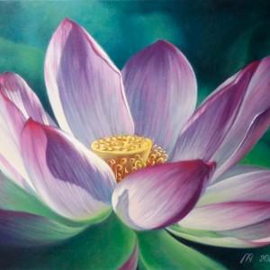 Картина холст масло ЛОТОС 40х50 живопись летний пейзаж флора цветы пруд