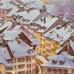 Картина холст масло НАКАНУНЕ РОЖДЕСТВА 50х70 живопись городской пейзаж зима