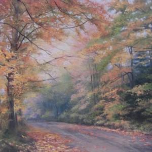 Картина холст масло СНОВА ОСЕНЬ 73х54 живопись осенний пейзаж