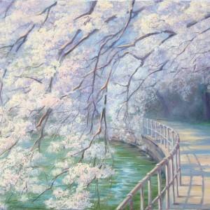 Картина холст ВЕСЕННИЕ КРУЖЕВА 50х70 живопись весенний пейзаж