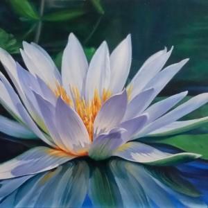 Картина холст масло ВОДНАЯ ЛИЛИЯ 60х45 живопись летний пейзаж флора цветы пруд