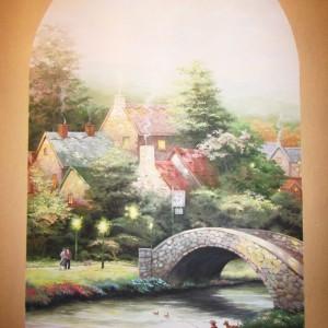 Роспись стен и потолков в интерьере пейзажи орнаменты флора и фауна сельский и городской пейзаж